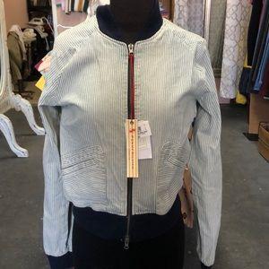 Denim zipper jacket medium made in Italy